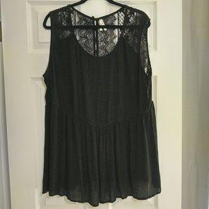 Cotton Black Lace Sleeveless Blouse